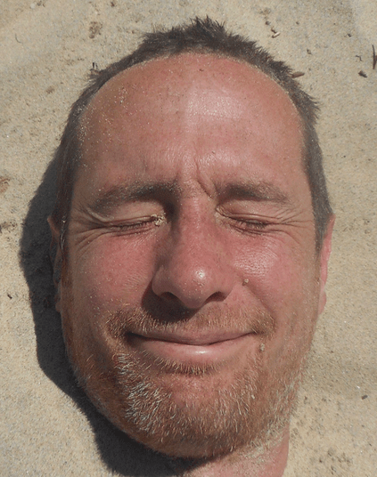 My face in sand